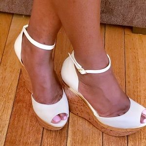 White wedge heels by Jessica Simpson
